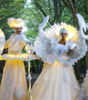échassiers blancs lumineux avec plumes et pompons